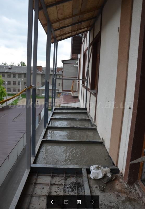 Заливка плиты на балконе