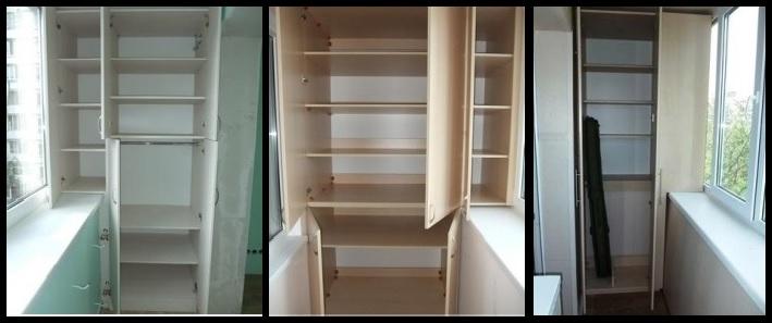 Шкаф для балкона с выносом по подоконнику